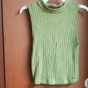 Mock neck sleeveless olive green sweater